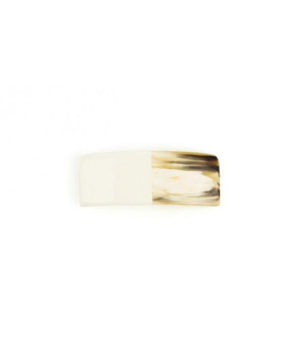 Rectangular barette in ivory lacquered horn