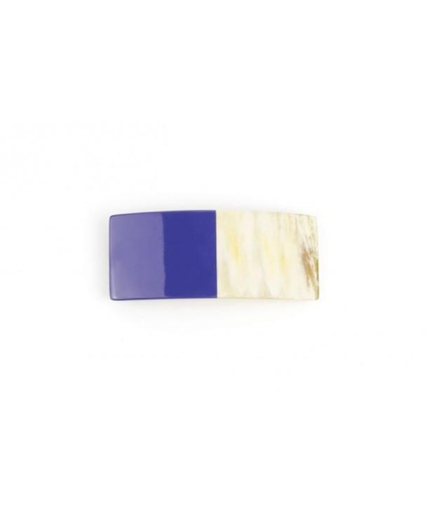 Barrette rectangulaire en corne laquée bleu indigo