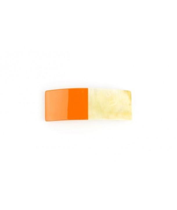 Barrette rectangulaire en corne laquée orange
