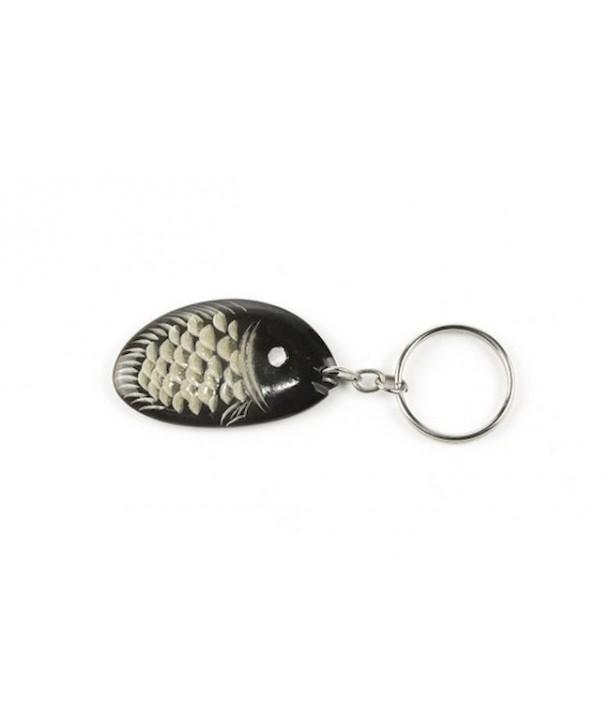 Fish key holder in plain black horn
