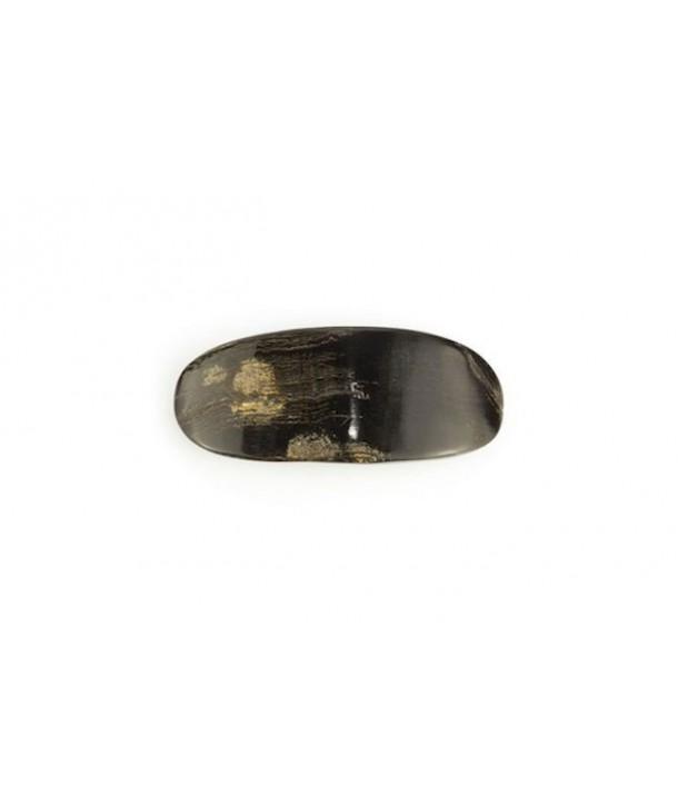 Oval barette in raw black horn