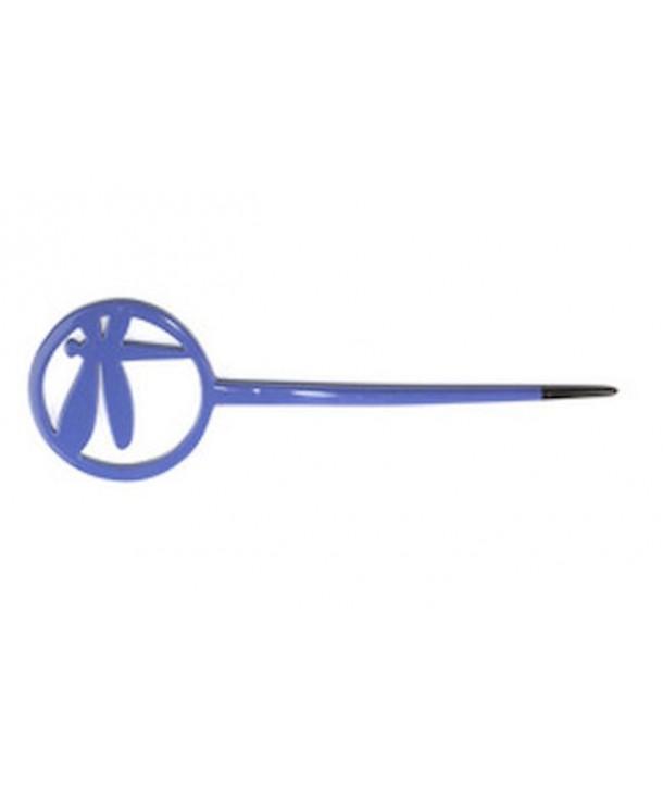 Pique àcheveux libellule cerclée laquée bleu indigo