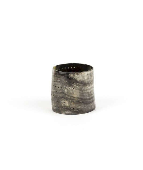 Medium size dotted candle holder marbled black and white horn