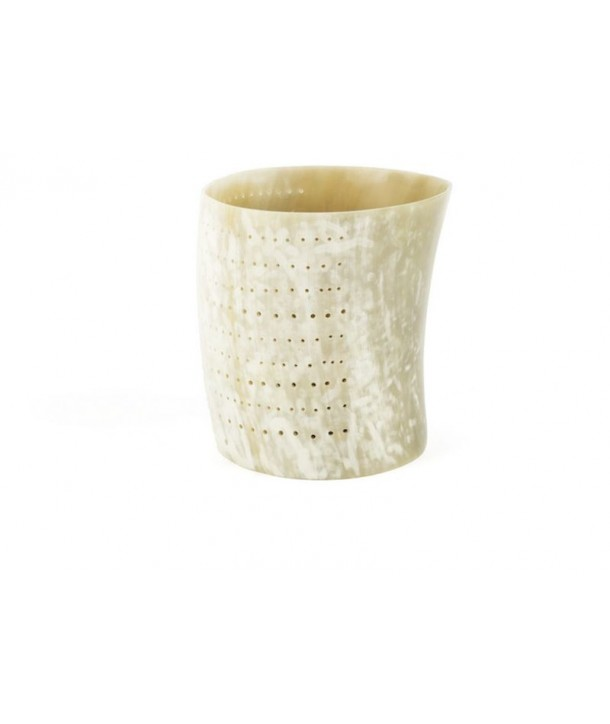 Very large dotted candle holder in blond horn