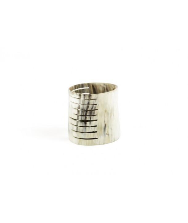 Large striped candle holder marbled blond horn