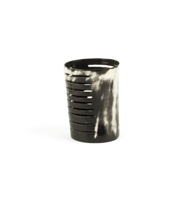 Very large striped candle holder marbled black and white horn