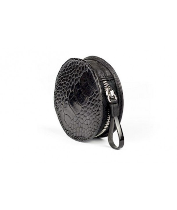 Small purse in black ostrich and cow leather