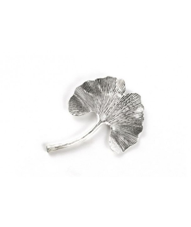 Gingko brooch in silvery metal
