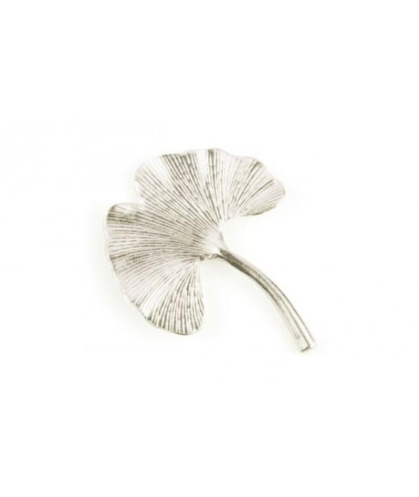 Petite broche gingko métal en métal argenté