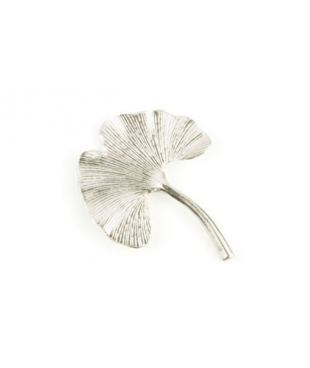 Small gingko brooch in silvery metal