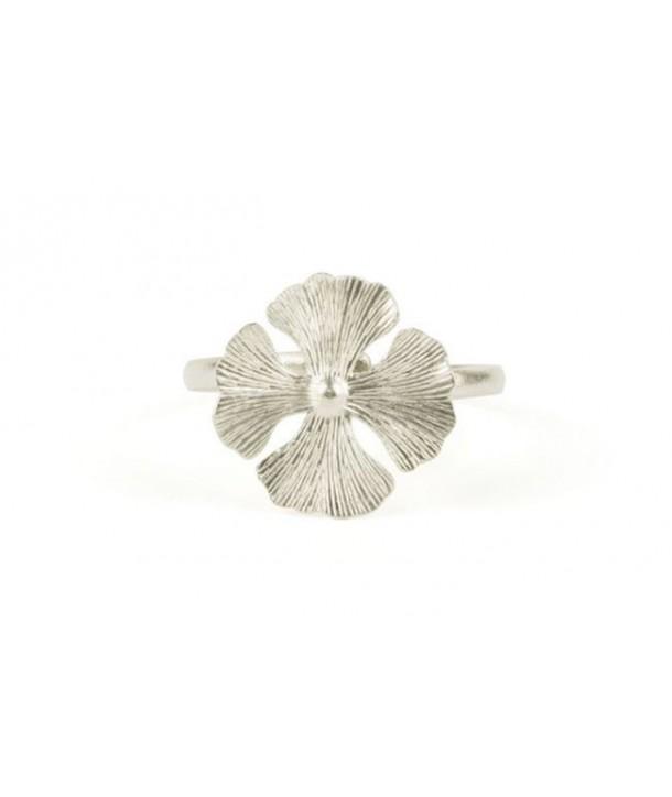 4 gingko bracelet in silvery metal
