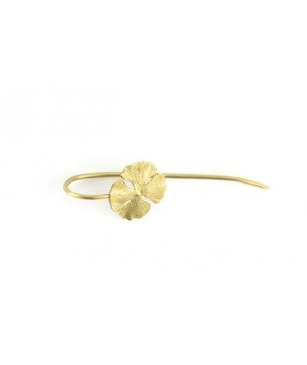 4-gingko hairpin in coppery brass