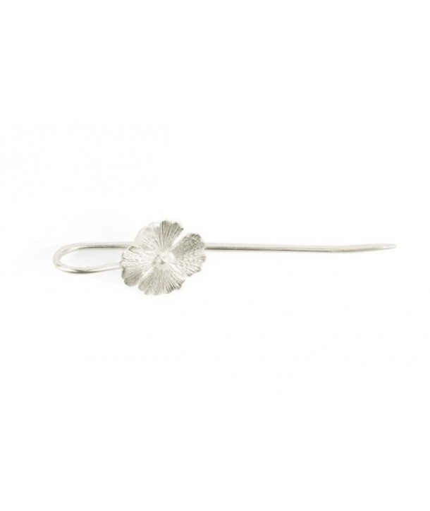4-gingko hairpin in silvery metal