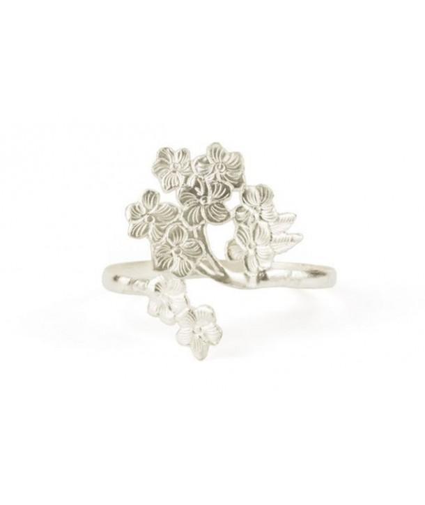 Bracelet feuille cerisier en métal argenté