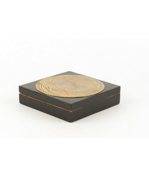 Bamboo pattern square box in stone with black background