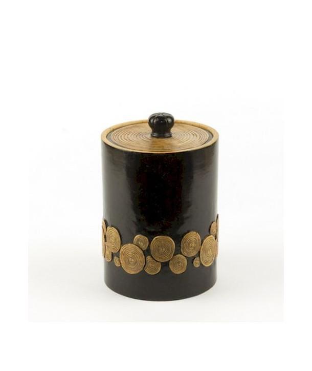Boîte à thé motif bambou en pierre fond noir