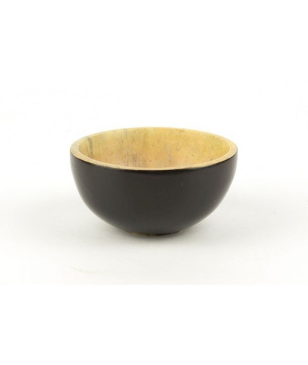 Set of 6 bamboo pattern mini bowls in stone with black background