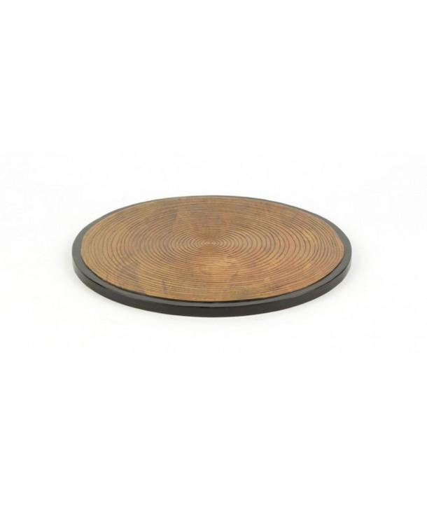 Dessous de plat motif bambou en pierre fond noir