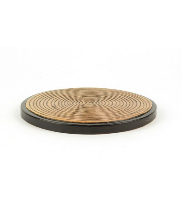 Set of 2 bamboo pattern bottle coasters in stone with black background