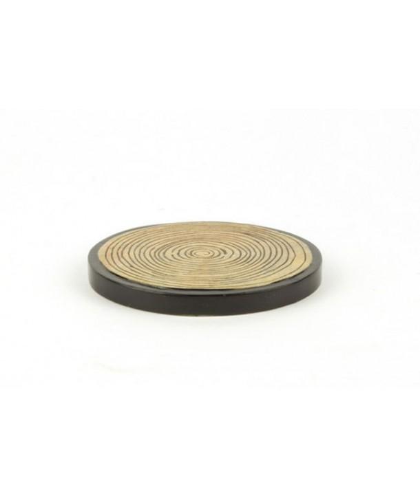 Set de 6 dessous de verre motif bambou en pierre fond noir