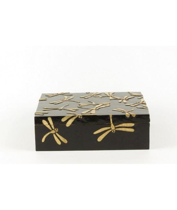 Boîte rectangulaire motif libellules en pierre fond noir