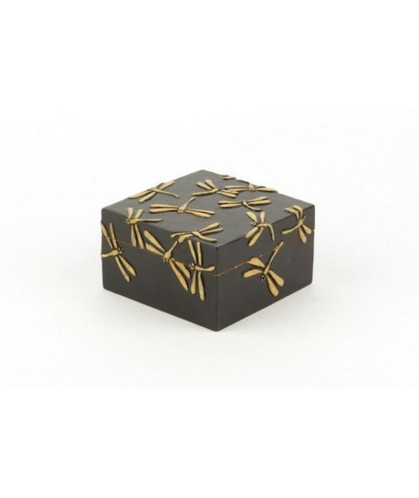 Boîte carrée motif libellules en pierre fond noir