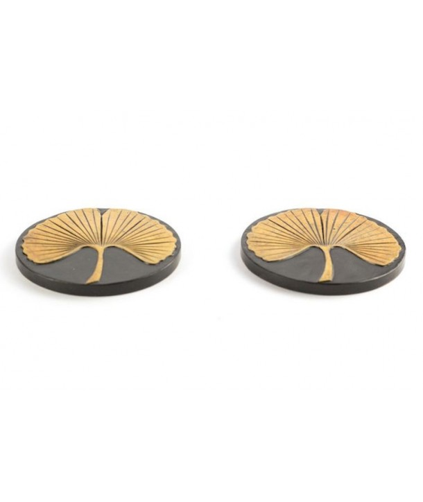 Set of 2 gingko bottle coasters in stone with black background