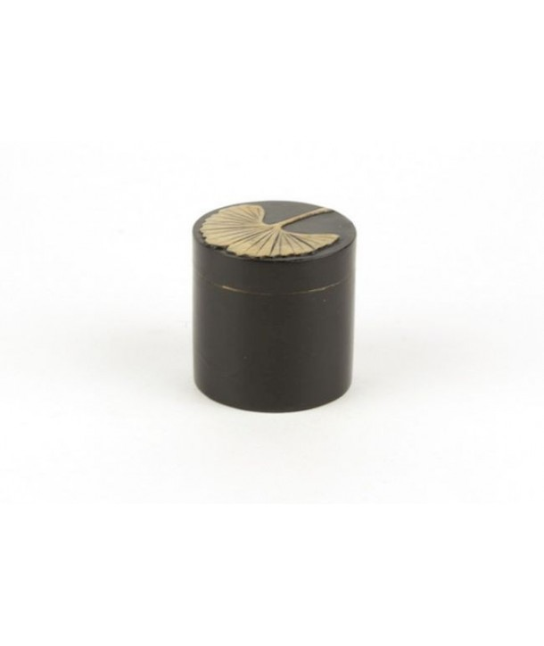 Gingko pattern pill box in stone with black background