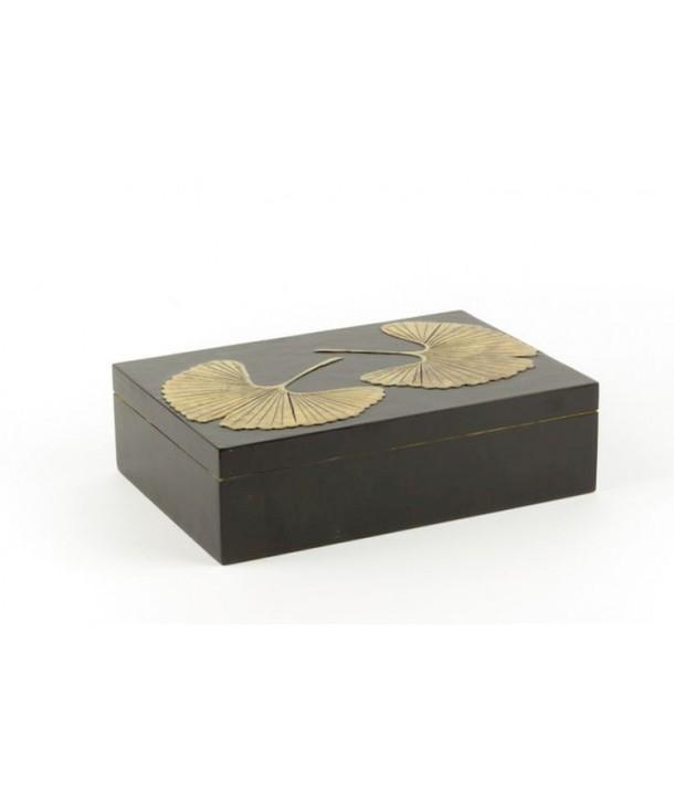 Gingko pattern rectangular box in stone with black background