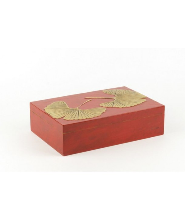 Gingko pattern rectangular box in stone with red background