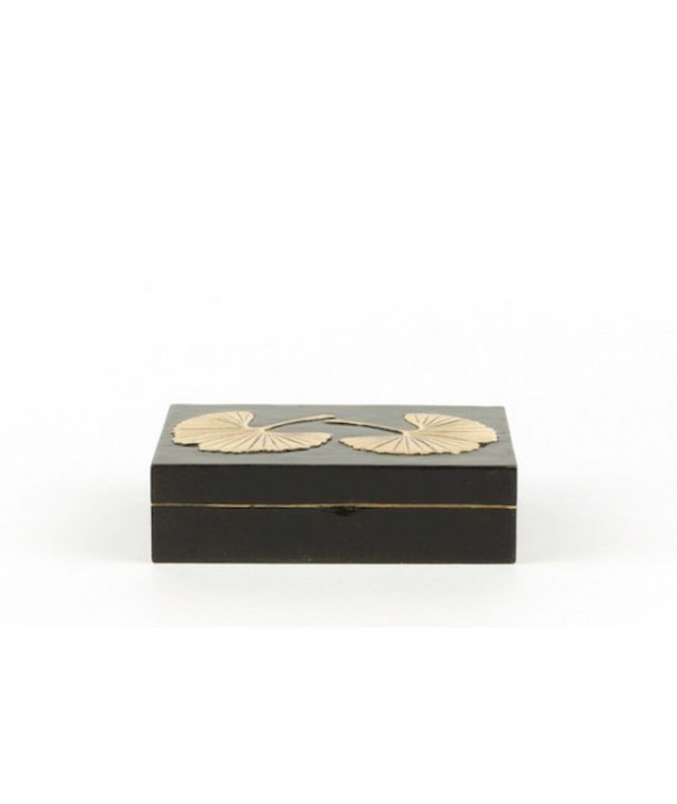 Petite boîte rectangulaire gingko en pierre fond noir