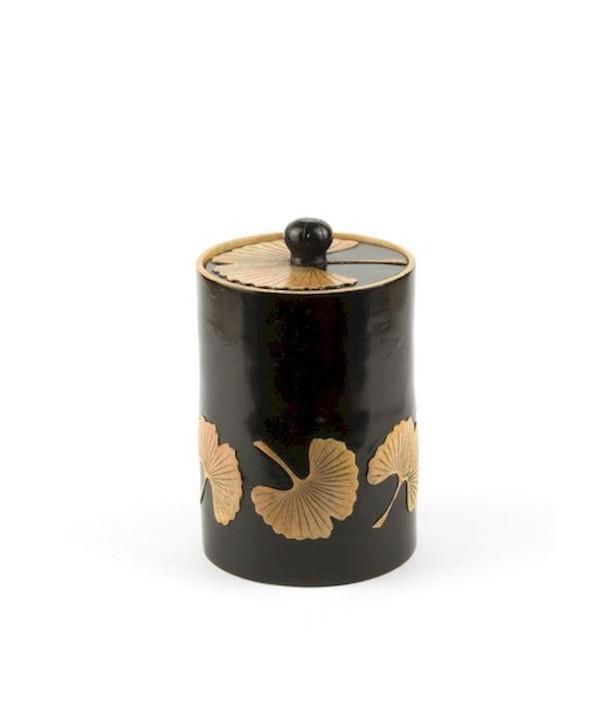 Boîte à thé motif gingko en pierre fond noir