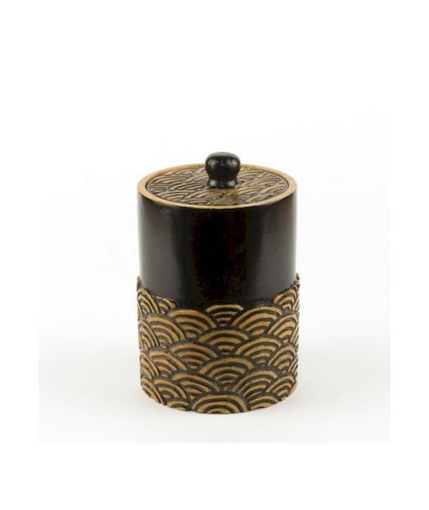 Boîte à thé motif vagues en pierre fond noir