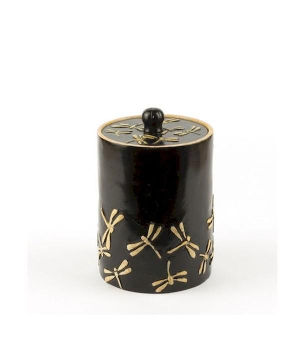 Boîte à thé libellules en pierre fond noir