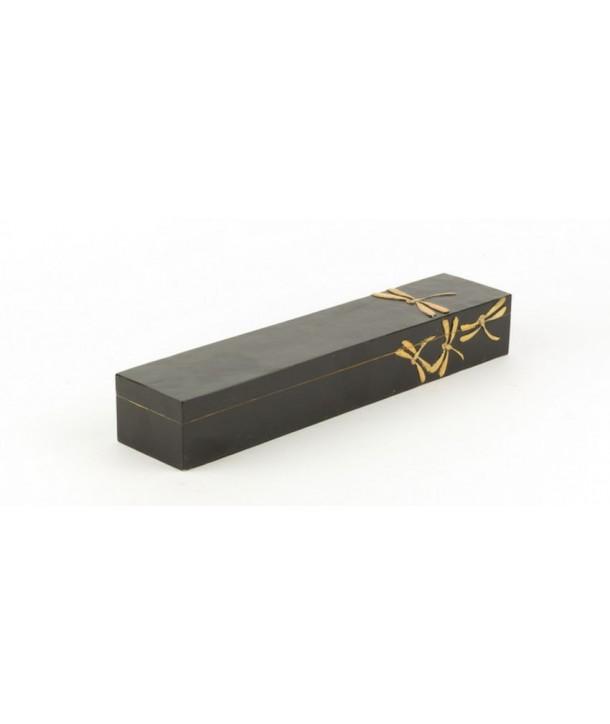 Boîte à baguettes libellules en pierre fond noir