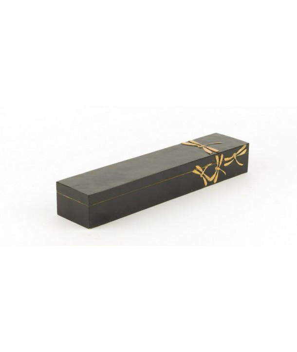 Dragonflies pattern chopstick box in stone with black background