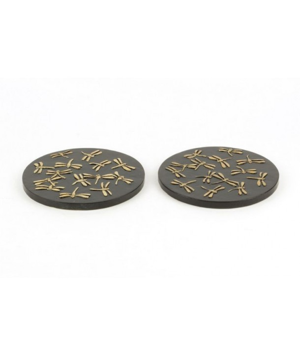 Set of 2 dragonflies bottle coasters in stone with black background