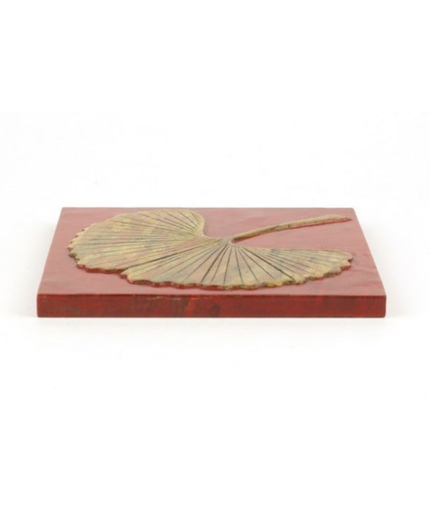 Gingko square tablemat in stone with black background