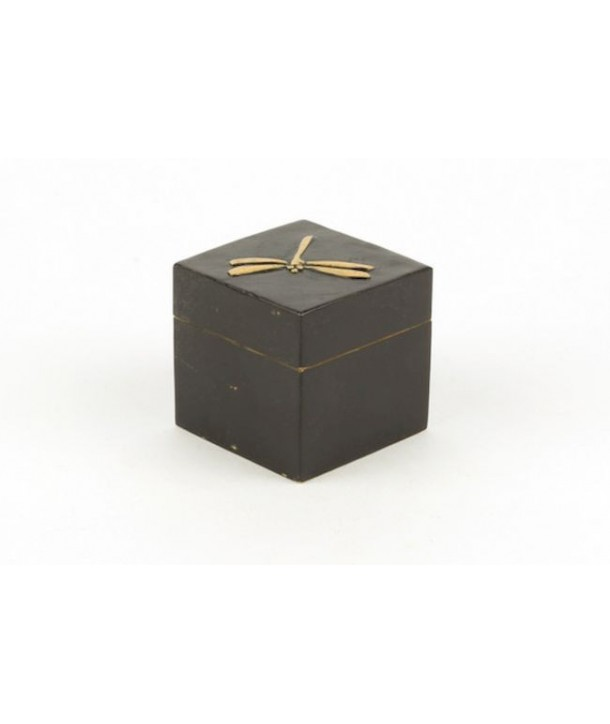 Dragonflies pattern small cubic box in stone with black background