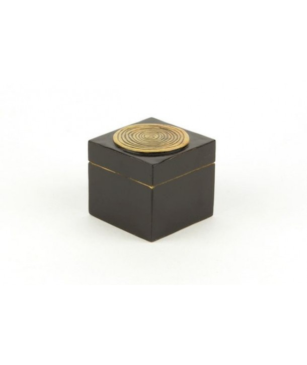 Bamboo pattern small cubic box in stone with black background