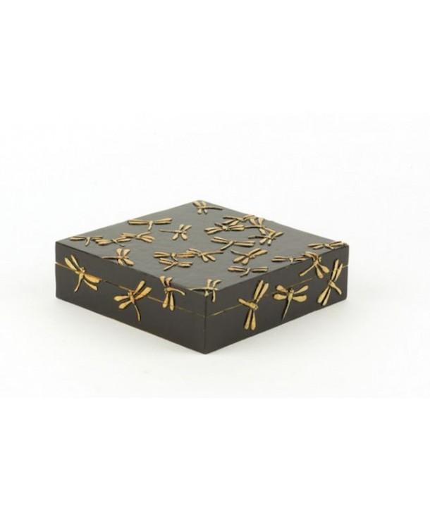 Grande boîte carrée plate libellules en pierre fond noir