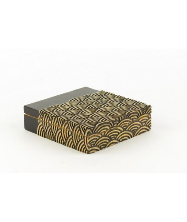 Wave pattern big flat square box in stone with black background