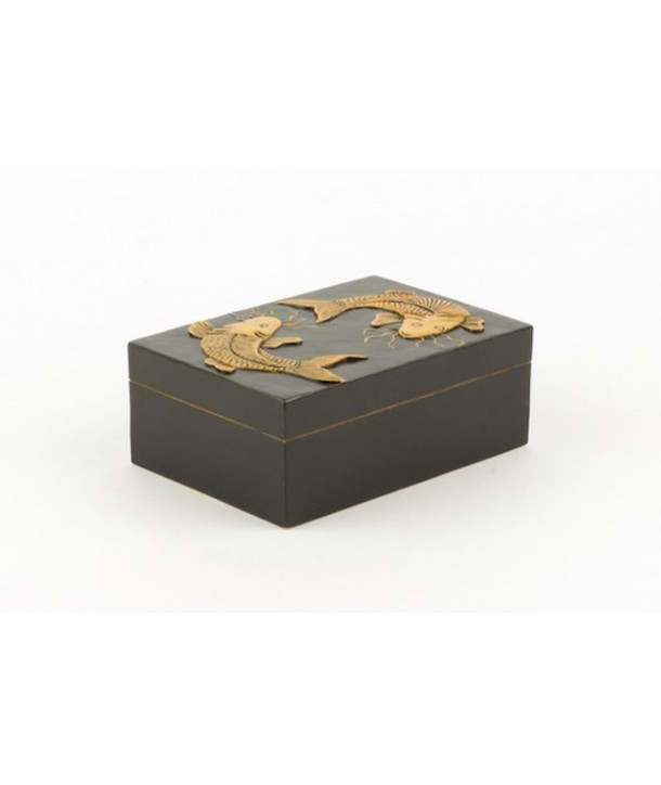 Boîte rectangulaire carpes en pierre fond noir