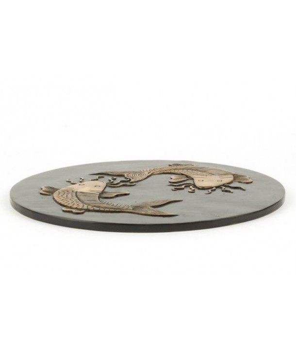 Carps round tablemat in stone with black background