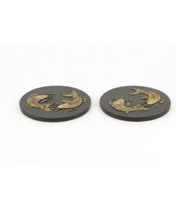 Set of 2 carps round bottle coasters in stone with black background