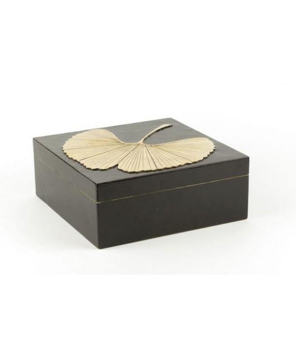 Très grande boîte carrée gingko en pierre fond noir