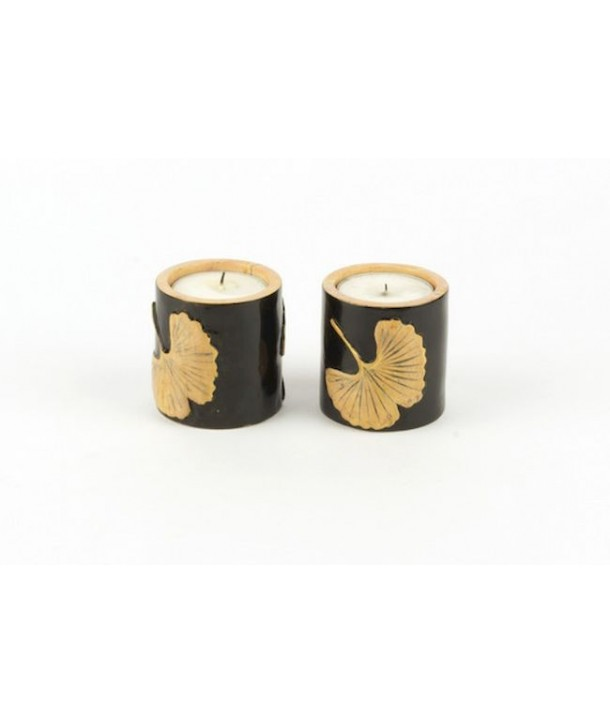 Set of 2 small gingko candlesticks in stone with black background