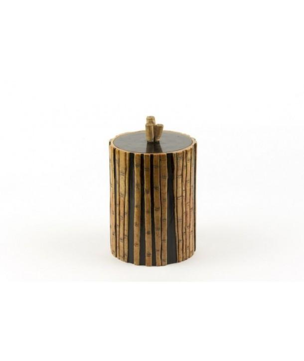 Boîte à thé forêt de bambou en pierre fond noir
