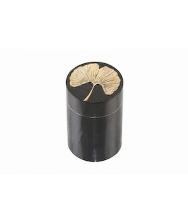 Gingko pattern toothpick box in stone with black background