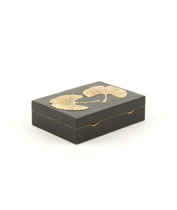Gingko pattern card game box in stone with black background
